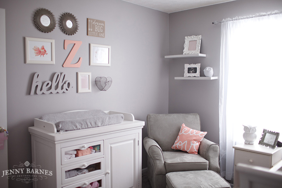 Savvy S Room A Peach Gray Nursery Jenny Barnes Photography